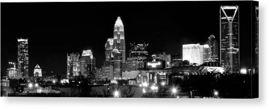 Charlotte Bobcats Canvas Print - Charlotte Night Panoramic  by Frozen in Time Fine Art Photography