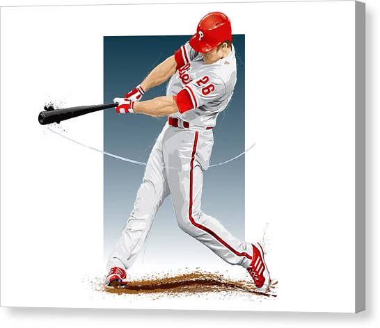 Baseball Canvas Print - Chase Utley by Scott Weigner