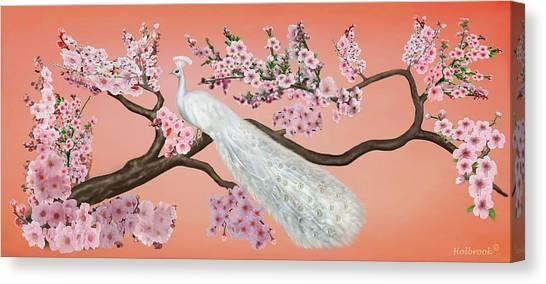 Cherry Blossom Peacock Canvas Print