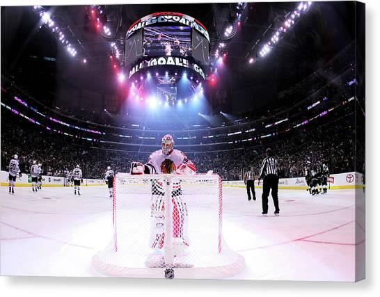 Chicago Blackhawks V Los Angeles Kings Canvas Print by Jeff Gross