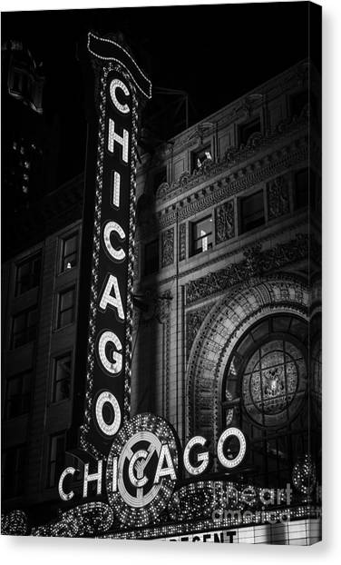 Chicago Theatre Sign In Black And White Canvas Print by Paul Velgos