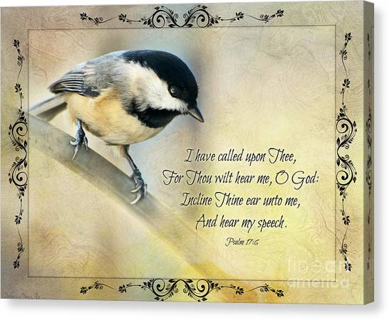 Chickadee With Verse Canvas Print
