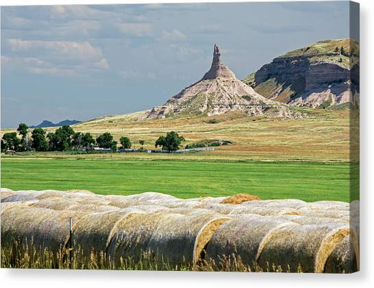 Hay Bales Canvas Print - Chimney Rock by Jim West
