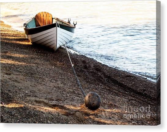 China Beach Rowboat Canvas Print