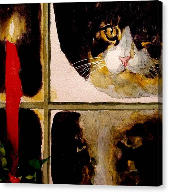 Kittens Canvas Print - Christmas Visit by Paul Lovering