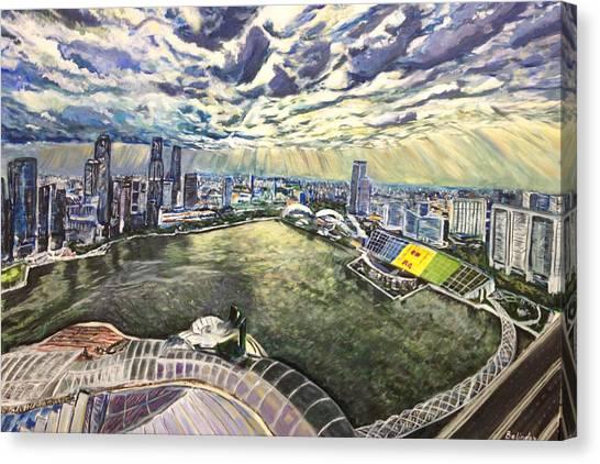 City Around The River Canvas Print