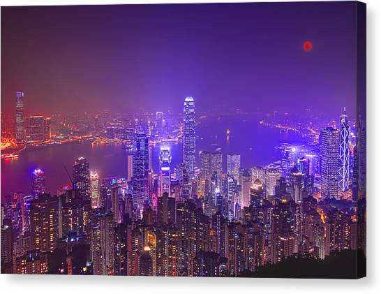 Hong Kong Canvas Print - City Of Lights by Midori Chan