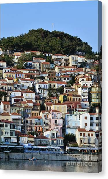Port Canvas Print - City Of Plomari by George Atsametakis
