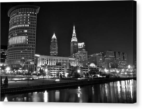 City Of The Dead Canvas Print - Cleveland In Black And White by Frozen in Time Fine Art Photography