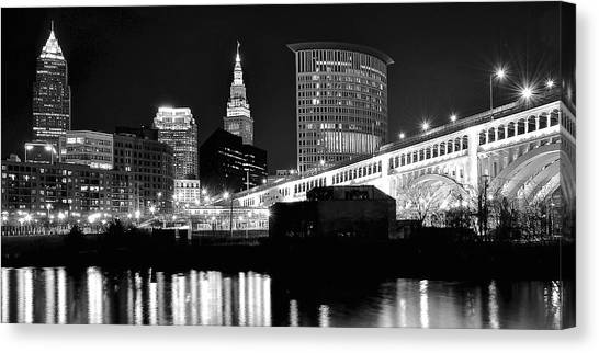 Cleveland Indians Canvas Print - Cleveland Skyline by Frozen in Time Fine Art Photography