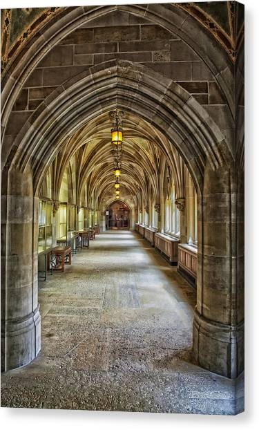 Yale University Canvas Print - Cloister Hallway Inside Sterling Memorial Library - Yale University by Mountain Dreams