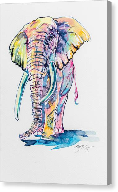 Elephants Canvas Print - Colorful Elephant by Kovacs Anna Brigitta