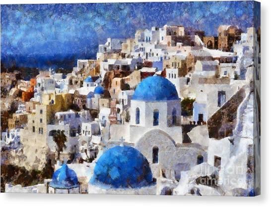 Colorful Oia In Santorini Island Canvas Print