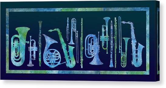 Trombones Canvas Print - Cool Blue Band by Jenny Armitage