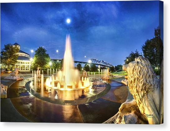 Coolidge Park Fountains At Night Canvas Print