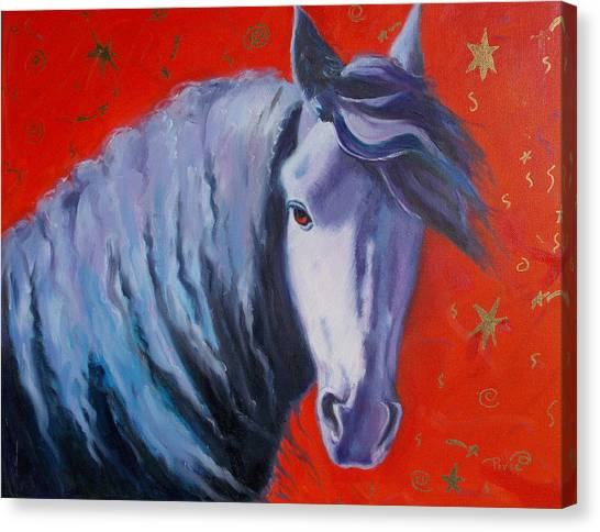 Cosmic Horse Canvas Print by Pixie Glore