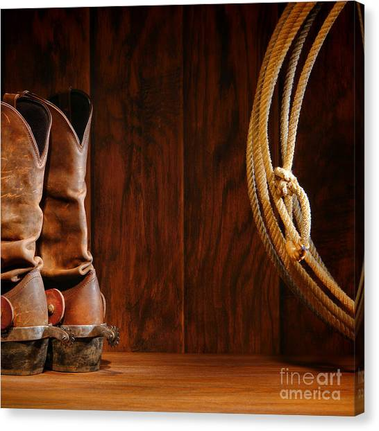 Cowboy Boots Canvas Print - Cowboy Boots And Lasso Lariat by Olivier Le Queinec
