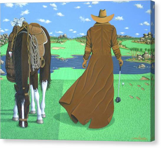 Contemporary Cowboy Art Canvas Print - Cowboy Caddy by Lance Headlee