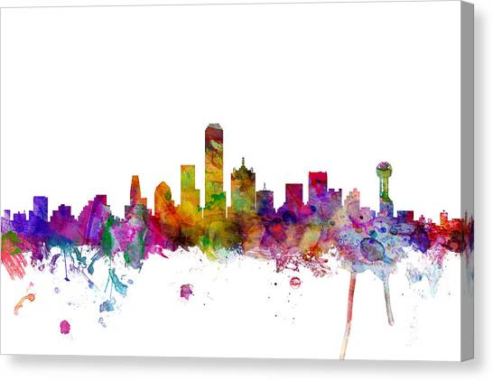 Dallas Skyline Canvas Print - Dallas Texas Skyline by Michael Tompsett