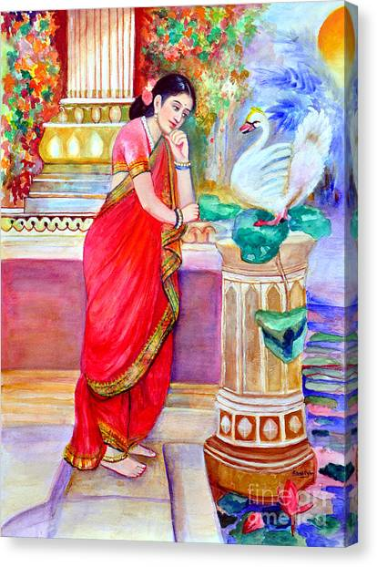 Damayanthi And The Swan Canvas Print by Banu's Art work