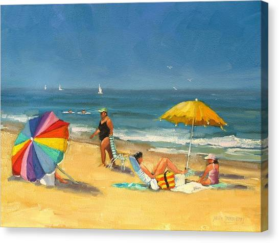 People On Beach Canvas Print - Day At The Beach by Laura Lee Zanghetti