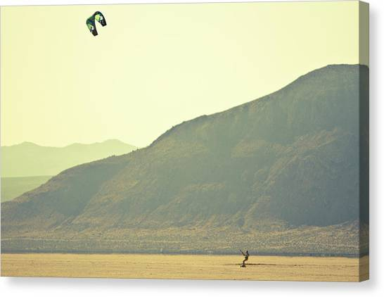 Black Rock Desert Canvas Print - Desert Kiteboarding by Gabe Rogel