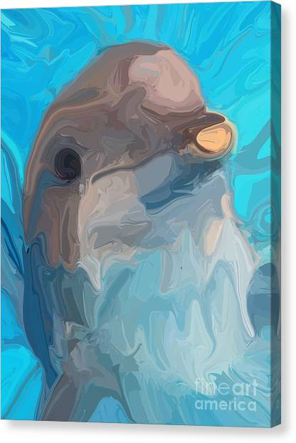 Bottlenose Dolphins Canvas Print - Dolphin by Chris Butler