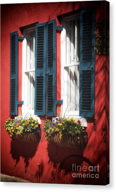 Red School House Canvas Print - Double Windows by John Rizzuto