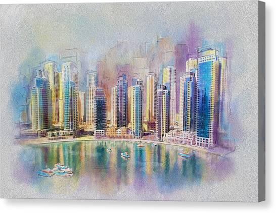 Dubai Skyline Canvas Print - Downtown Dubai Skyline by Corporate Art Task Force