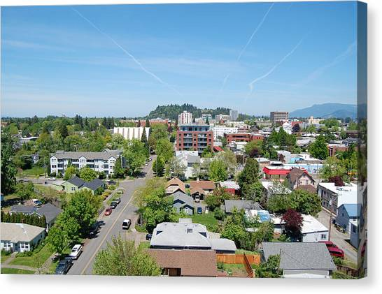 University Of Oregon Uo Canvas Print - Downtown Eugene by Margaret Pitcher