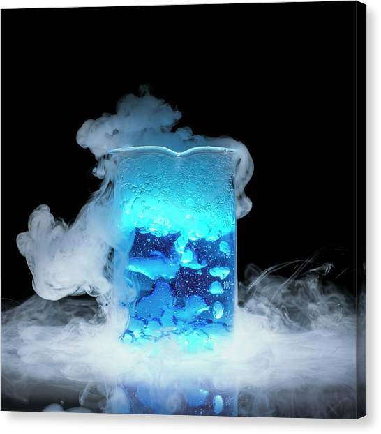 Dry Ice Vaporising Canvas Print by Science Photo Library