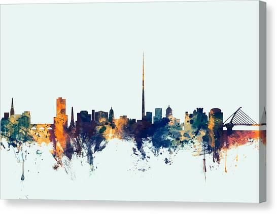 Watercolour Canvas Print - Dublin Ireland Skyline by Michael Tompsett