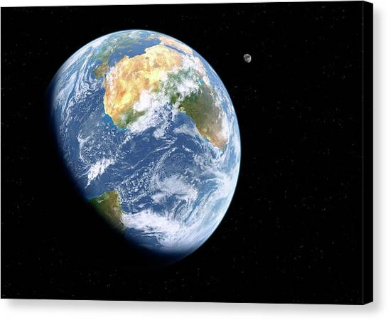 Earth And Moon From Space Canvas Print by Detlev Van Ravenswaay
