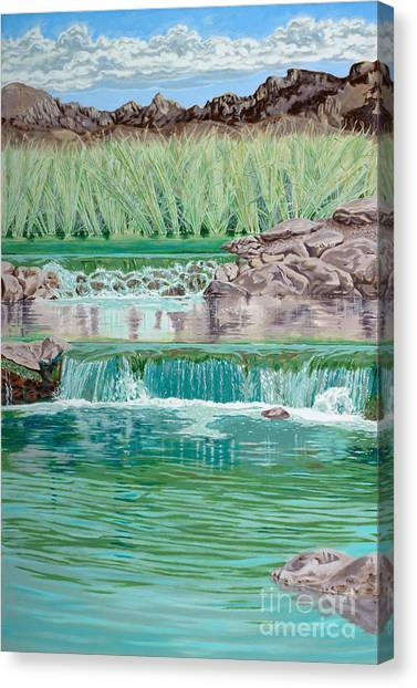 Canvas Print - Eighteenth Hole Ball In The Water by John Wilson