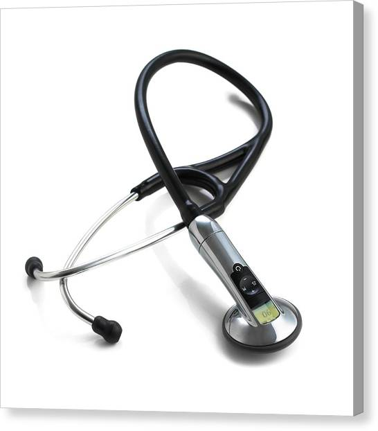 Electronic Instruments Canvas Print - Electronic Stethoscope by Science Photo Library
