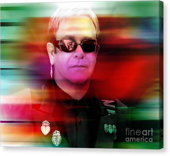 Elton John Canvas Print - Elton John by Marvin Blaine