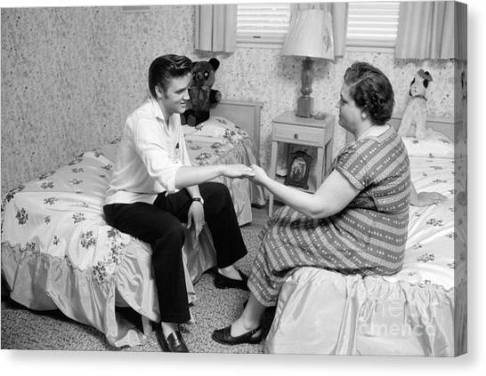 Elvis Canvas Print - Elvis Presley And His Mother Gladys 1956 by The Harrington Collection