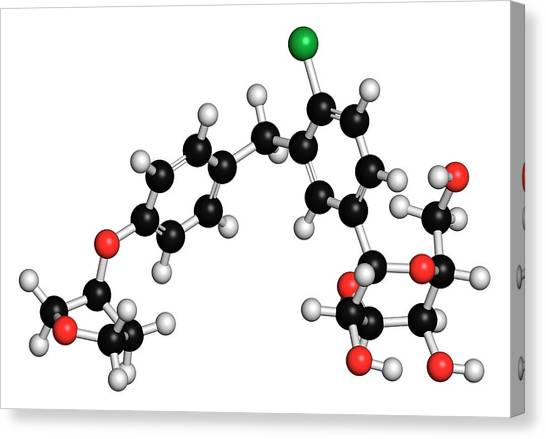 Diabetes Canvas Print - Empagliflozin Diabetes Drug Molecule by Molekuul