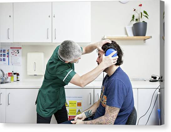 Headphones Canvas Print - Employment-related Hearing Test by Lewis Houghton/science Photo Library