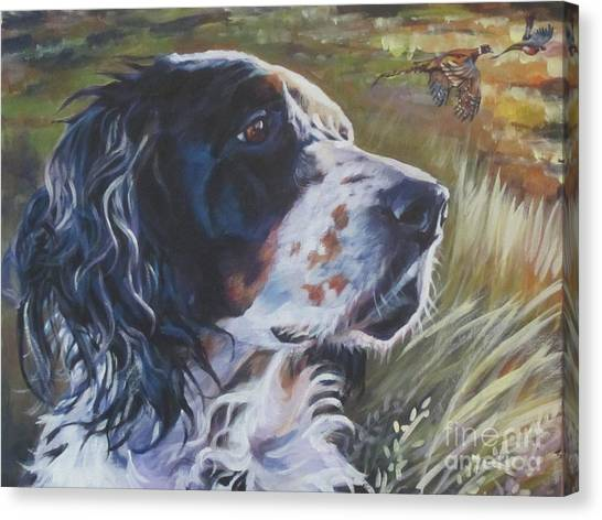 Pheasants Canvas Print - English Setter by Lee Ann Shepard