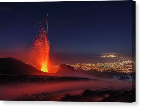 Mount Etna Canvas Print - Eruption Of Mount Etna by Martin Rietze/science Photo Library