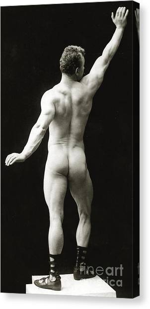 Bodybuilder Canvas Print - Eugen Sandow In Classical Ancient Greco Roman Pose by American Photographer
