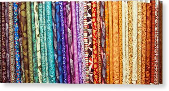 Clothing Store Canvas Print - Fabric Colours by Tom Gowanlock