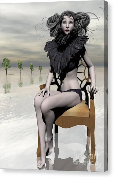 Femme Avec Chaise Canvas Print by Sandra Bauser Digital Art