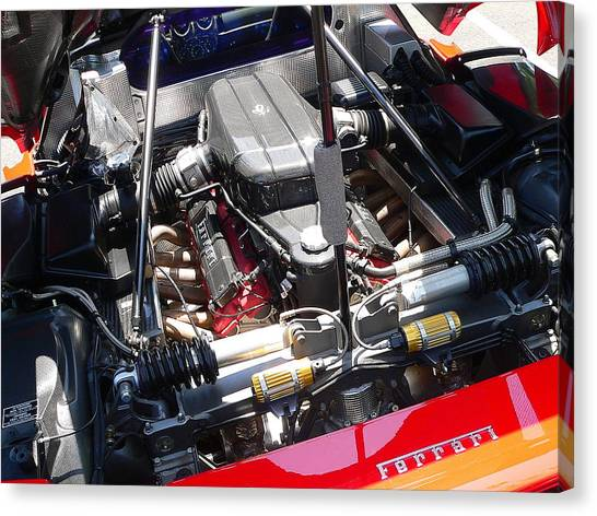 Canvas Print featuring the photograph Ferrari Engine by Jeff Lowe