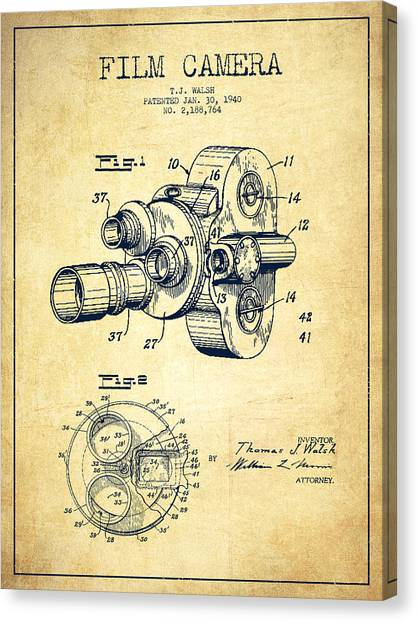 Vintage Camera Canvas Print - Film Camera Patent Drawing From 1938 by Aged Pixel