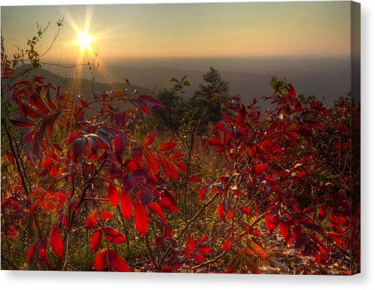 Ocoee Canvas Print - Fire On The Mountain by Debra and Dave Vanderlaan