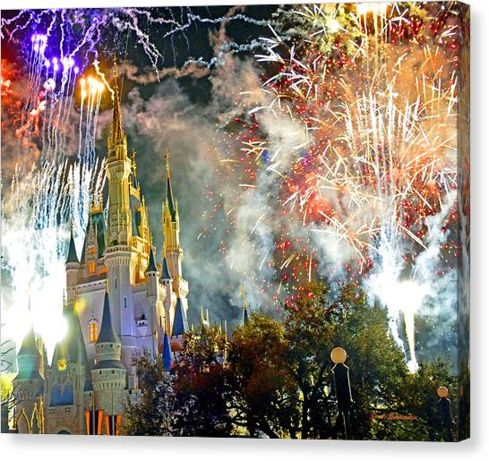Fireworks Cinderellas Castle Walt Disney World Canvas Print
