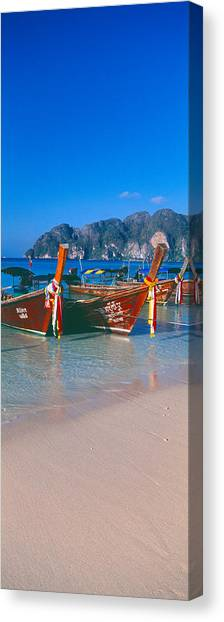 Beach Cliffs Canvas Print - Fishing Boats In The Sea, Phi Phi by Panoramic Images