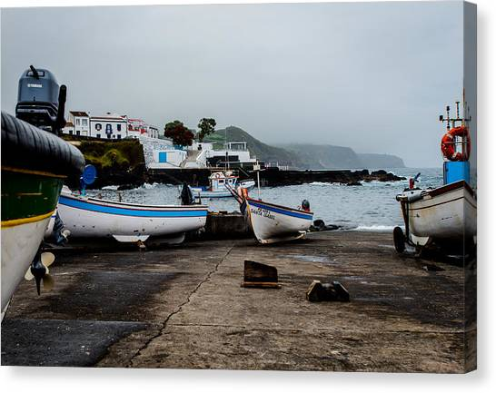 Fishing Boats On Wharf With View Of Houses  Canvas Print